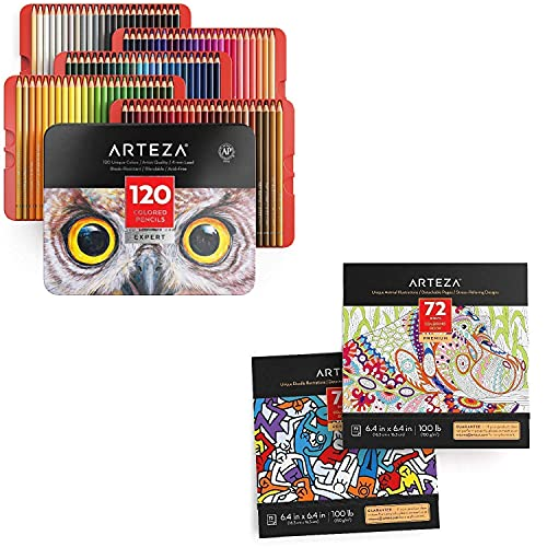 Arteza Colored Pencils and Coloring Book Bundle, Drawing Art Supplies for Artist, Hobby Painters & Beginners