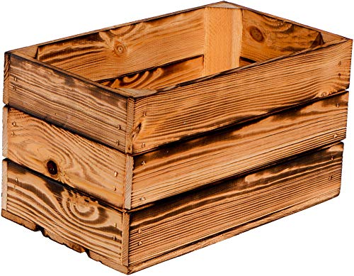 Kistenkolli Altes Land Weinkiste Hilde geflammt ohne 38x22x21cm Weinkisten Gartendeko Wohnungsdeko Holzkisten Apfelkisten