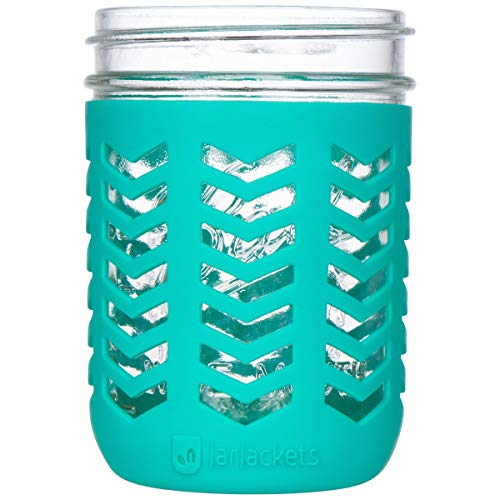 JarJackets Silicone Mason Jar Protector Sleeve - Fits Ball, Kerr 16oz (1 pint) Wide-Mouth Jars   Package of 1 (Lagoon)