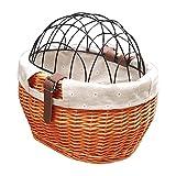 WINBST Panier de vélo avant avec grille, panier pour animaux de compagnie, siège pour porte-bagages en osier naturel, panier arrière pour chien, panier pour vélo, accessoire 30 x 25 cm