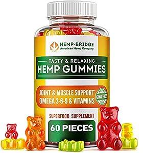 Hempbridge Hemp Gummies - Safe and Natural - Non-GMO - Different tastes - Maximum Value in Each Gummy - Special Vitamins B & E and Omega 3, 6, 9 Blend - 60 Pcs.
