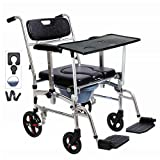 Nurth 4 in 1 Chair Shower Commode Mobile Chair Commode/Shower Wheelchair Padded Toilet Sea...