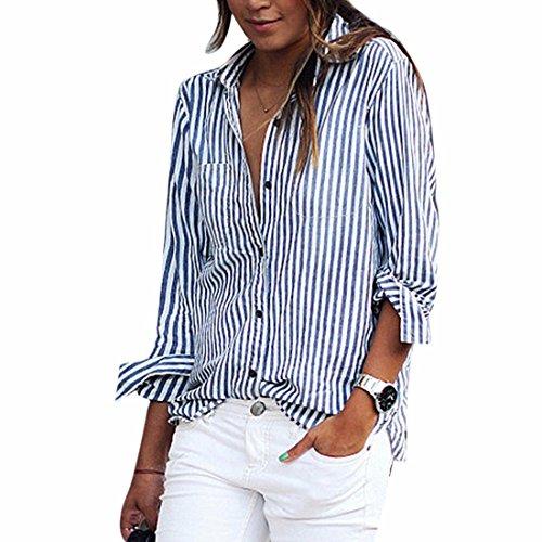 Qiyun.Z Con botones manga larga blusa para Mujer Azul METRO
