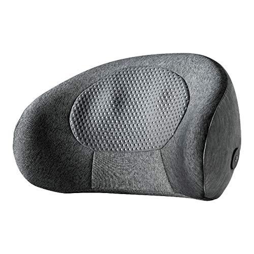MCombo - Cojín de masaje Shiatsu para la espalda, apoyo lumbar en forma de C, ergonómico, portátil, inalámbrico, recargable, con función de calor, ideal para oficina en casa, oficina, conducción