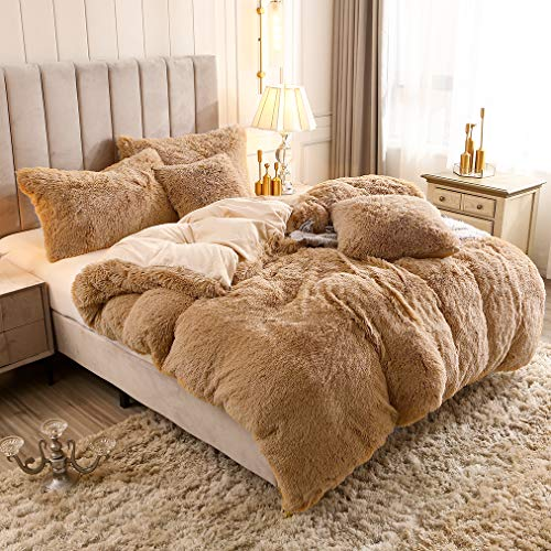 Uhamho Solid Fluffy 1PC Faux Fur Plush Duvet Cover Luxury Shaggy Velvet Bedspread Zipper Closure (Camel, King)