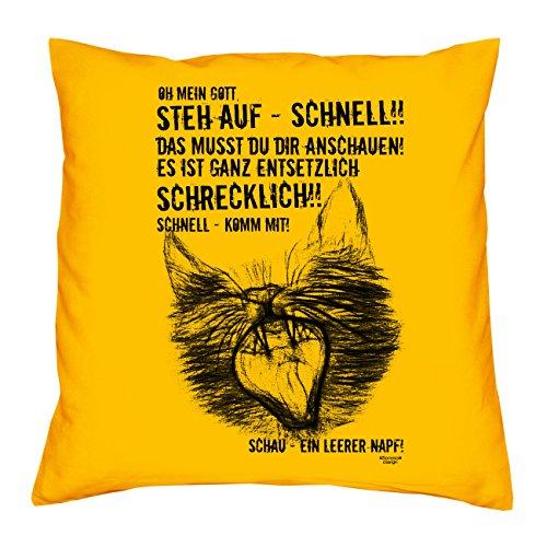Soreso Design EIN leerer Napf Katzen-Motiv :: Kissen mit Füllung 40x40 cm Tolle Geschenkidee Geschenk für Sie und Ihn für Katzenliebhaber Farbe: gelb