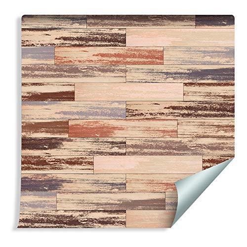 Muralo 214868059 - Papel pintado para tableros de madera, diseño retro, vinilo cálido, estilo escandinavo
