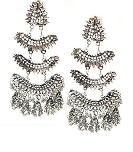 Pendientes largos indios Bollywood étnicos tradicionales de fiesta, estilo afgano, tribal, plata oxidada, largos colgantes Jhumka joyería