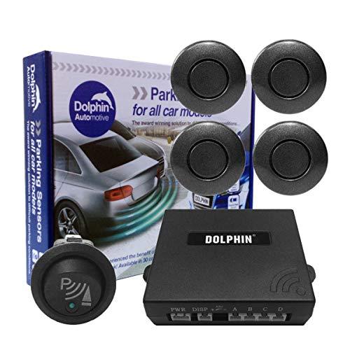 Dolphin - Sensores de aparcamiento delantero para coche, furgoneta, con cables de 6 m más largos y interruptor de aparcamiento en 32 opciones de colores (gris hierro)