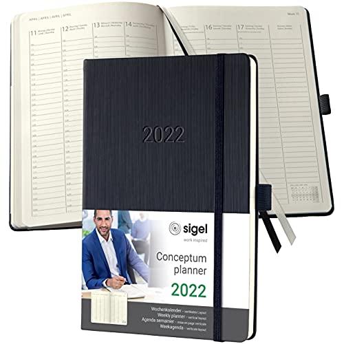SIGEL C2219 Planungsbuch Terminplaner Wochenkalender 2022 - ca. A5 - 1 Woche = 2 Seiten, 1 Spalte pro Tag - schwarz - Hardcover - 192 Seiten - Gummiband, Archivtasche - PEFC-zertifiziert - Conceptum