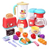 CUTE STONE Kitchen Appliances Toy,Kitchen Pretend Play Set with Coffee Maker Machine,Toaster,Blender with Realistic Light,Play Cutting Foods and Play Kitchen Accessories,Learning Gift for Girls Boys