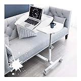 Mesa de sobrecama con ruedas de altura ajustable, escritorio de ordenador portátil, mesa de cama y silla totalmente ajustable, para comidas, lectura, escritura (color blanco)