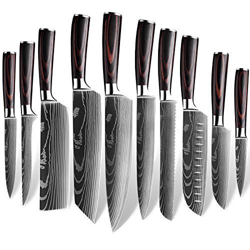 MDHAND Set di coltelli da Cucina Professionale, Set di coltelli da Chef Tedeschi in Acciaio Inossidabile con Coperchio (10PCS)