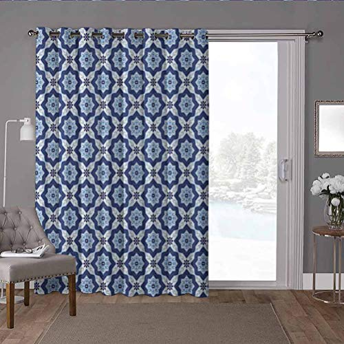 YUAZHOQI cortinas opacas térmicas para patio, marroquí, azulejos antiguos como imagen, detalles florales de 100 x 108 pulgadas de ancho para dormitorio (1 panel