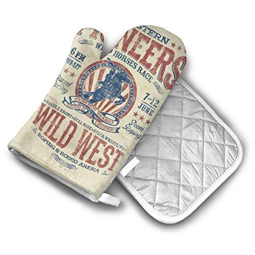 Ofenhandschuhe und Topflappen-Sets Rodeo-Ofenhandschuhe und Topflappen der westlichen Pioniere