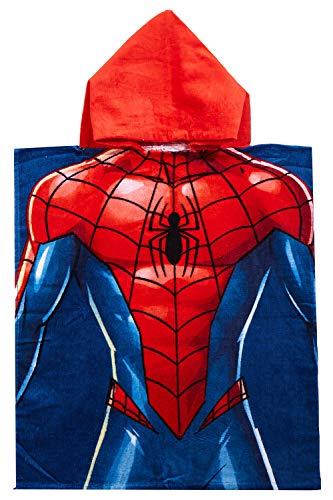 Marvel Spider-Man Poncho Badeponcho mit roter Kapuze rot-blau Superheld, 50 x 115 cm, 100% Baumwolle, für Kinder