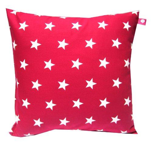 TryPinky® Kissenhülle 40 X 40 cm Sterne Rot-WeiIß Pünktchen auf der Rückseite Kissen Kissenbezug für Kissen Stern 100% Baumwolle BW Zierkissen Zierkissenbezug Kinderkissen Deko Geschenk