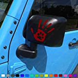 Two Dog Paw Print Wave Stickers fits Jeep Wrangler JK JL TJ (x2) Decals Pair Left & Right (Maroon)
