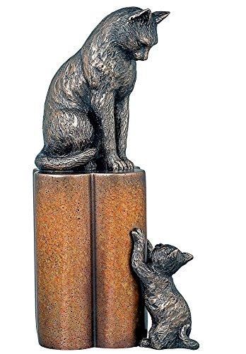 'Nurture' Superbe Sculpture en bronze coulé à froid d'une mère Chat et Chaton