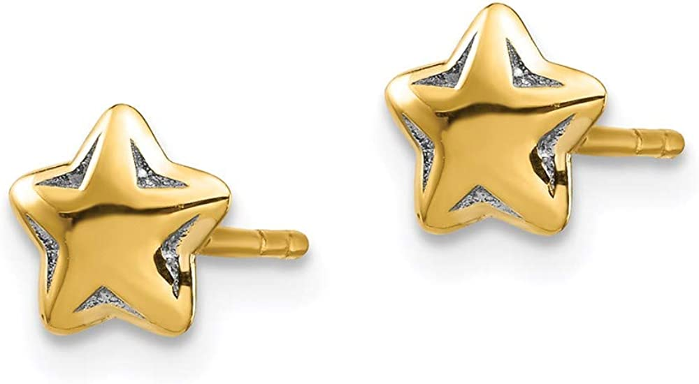 14k Yellow Gold and Rhodium Plated Celestial Post Earrings with Jacket Set