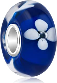 ReisJewelry Flower Lampwork Murano Glass Beads Spacer Charm With 925 Sterling Silver Core For Bracelets