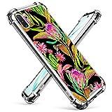 UZEUZA Coque transparente compatible avec Samsung Galaxy Note 10+ Motif floral tropical et feuilles...