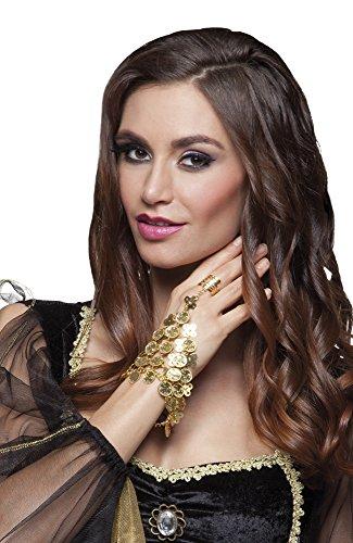 shoperama Hand-Kette Gold-Münzen Ring Göttin Haremsdame Wahrsagerin Zigeunerin Römerin 1001 Nacht Belly Dance Bauchtanz Bollywood Hand-Schmuck