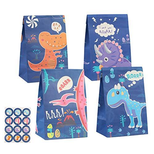 KATOOM 24stk Dino Geschenktüten Klein Dinosaurier Papiertüten zum Befüllen mit 24 Dinosticker Kinder Partytüten aus Papier für Kindergeburtstag Dinosparty