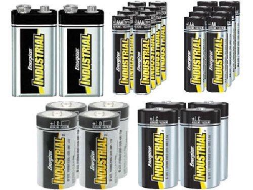 8 AA + 8 AAA + 4 C + 4 D + 2 9 Volt Energizer Industrial Alkaline Battery Combo