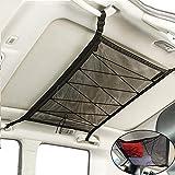 roadwi SUV Interior Ceiling Cargo Storage Net - Double Layer Mesh Long Trip Storage Organizer 33.4''x 22.5'',Adjustable Buckle Extra Drawstring Tighten Car Storage Bag for Trunk