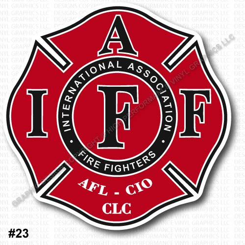 "High Performance Vinyl Graphics LLC IAFF Union Firefighter Decal Sticker Red Black White 3.7"" Laminated Regular Mount 0357"