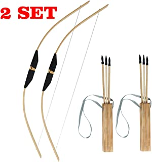 TOPARCHERY Wooden Bow and Arrow Set for Kids Beginners with 3 Arrows 1 Quiver Youth Long Bow Archery Set Kit Children Practice Toy