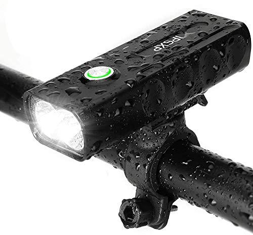 IPSXP luci Biciclette LED, USB Ricaricabile Set Super Luminoso 1000 Lumens Luce Fanale Anteriore della Bicicletta per Biciclette Varie- Sicurezza per Notte,3 modalità di Luce, Impermeabile IPX5