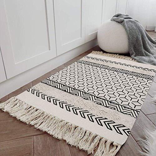 SHACOS Alfombra Lavable Salon Blanca Alfombra Etnicas Decorativa 60x90 cm Alfombra Entrada casa Interior