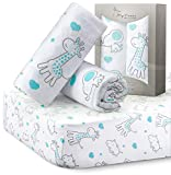 Crib Sheets for Baby Boys and Girls, Unisex, Ultra Soft Jersey Knit Cotton, Fits Standard Crib and Toddler Mattresses, Size 28in x 52in, 2 Pack Set, Mint Elephants & Mint Animals Nursery Sheet