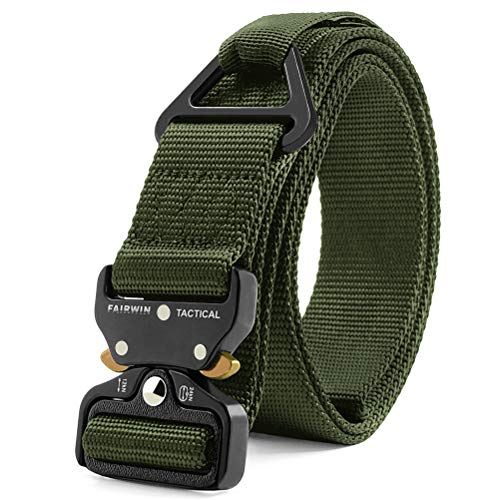 Fairwin Tactical Rigger Belt, Nylon Webbing Waist Belt with V-Ring Heavy-Duty Quick-Release Buckle (Green, M(Waist 36''-42''Width 1.5''))