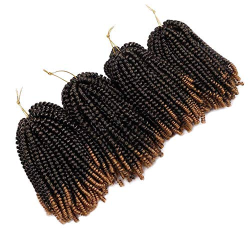 4 Packs Spring Twist Crochet Braids 8 Inch 30 Strands Low Temperature Fiber Color 2 Tone Synthetic Spring Curl Braiding Hair Extensions Crochet Braiding (#1B/27 Black to Light Brown)