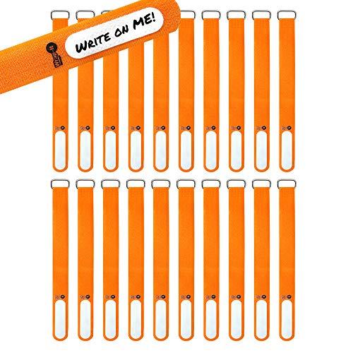 Wrap-It Storage Cinch-Straps, 20,3 cm, 18 Stück (orange), mit Edelstahl-Schnalle und Etikett zur Identifizierung von Kabeln, wiederverwendbare Mehrzweck-Kabelbänder, Kabelwicklung, Kabel-Organizer