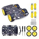 Robot Kit 4WD Robot Car Smart Chassis Kit with 4 TT Motor for UNO R3/Mega 2560/Raspberry Pi/Jetson Nano, Smart Robot Car Chassis DIY Learning Kit