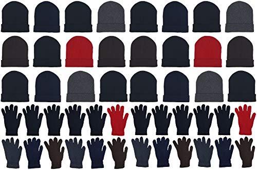 48x Winter Beanies & Gloves Combo Pack, Bulk Pack for Men Women, Warm Cozy Gift (Assorted #1)