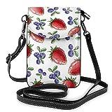 Générique Illustrations de fraises et bleuets Petit sac à bandoulière pour téléphone portable - Sac à main en cuir PU avec sangle réglable pour la vie quotidienne
