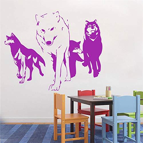 Preisvergleich Produktbild zhuziji Neue Wolf Wandtattoo Vinyl Wandaufkleber Predator Abnehmbare Tier Vinyl Room Home Decor Wand Stic Kaffee Farbe 70x86 cm