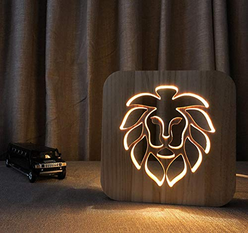 3D night light solid wood carving hollow creative craft LED table lamp(lion)