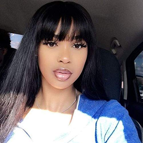 JNM Soft Hair Human Hair Wigs 13×6 Lace With Bangs For Black Women Remy Brazilian Human Hair Lace Front Wig Pre Plucked Bang (16Inch, Natural black)