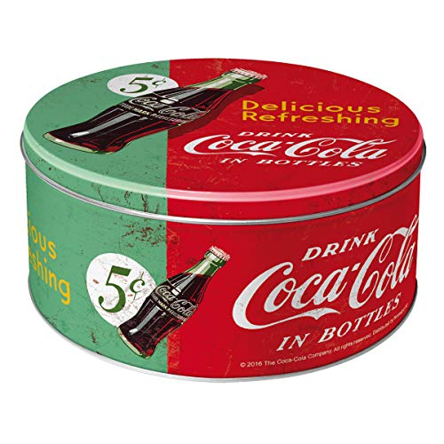 Nostalgic-Art 30603 Coca-Cola Delicious Refreshing Green Boîte de Conservation Ronde en métal Multicolore 21 x 21 x 9 cm
