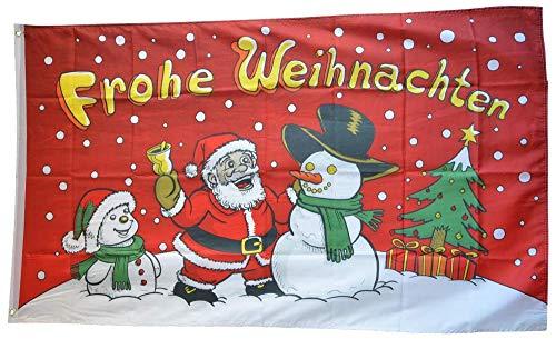 Flaggenfritze® Flagge/Fahne Frohe Weihnachten Schneemann rot - 90 x 150 cm