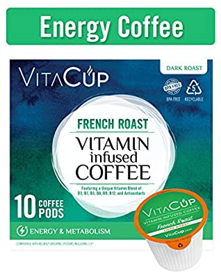 VitaCup Energy Blend Coffee Pods Keto|Paleo|Whole30 Friendly, B12, B9, B6, B5, B1, D3, Compatible with K-Cup Brewers Including Keurig 2.0, Top Rated Cups
