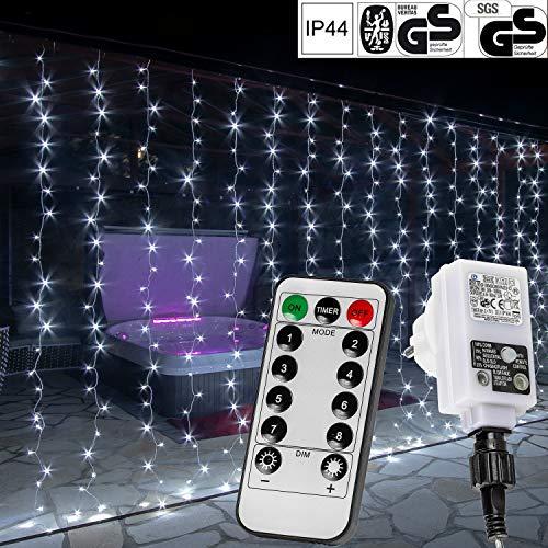 VOLTRONIC® LED Lichtervorhang Lichterkette für innen und außen, 3x3m 300 LED / 3x6m 600 LED / 6x3m 600 LED, warmweiß/kaltweiß/bunt/warmweiß+kaltweiß, GS geprüft, IP44, 8 Modi/Fernbedienung/Timer