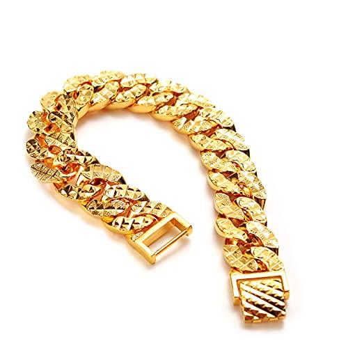 14mm de ancho pulsera hombres pulsera cadena sólida joyería 18k oro amarillo plateado clásico masculino hip hop accesorios clásicos