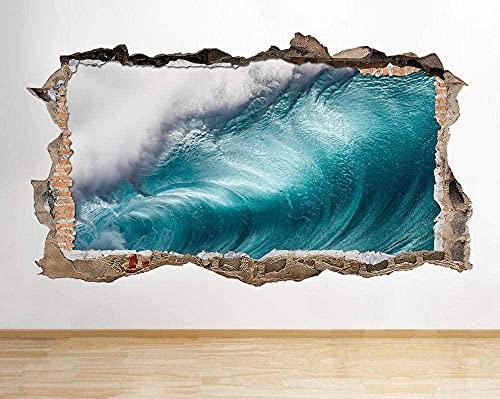 Pegatinas de pared Ola océano azul naturaleza destrozada pared calcomanía 3D arte pegatinas vinilo habitación - 60x90cm